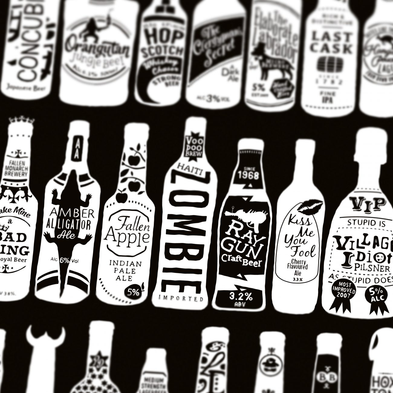 typographic bottles of beer
