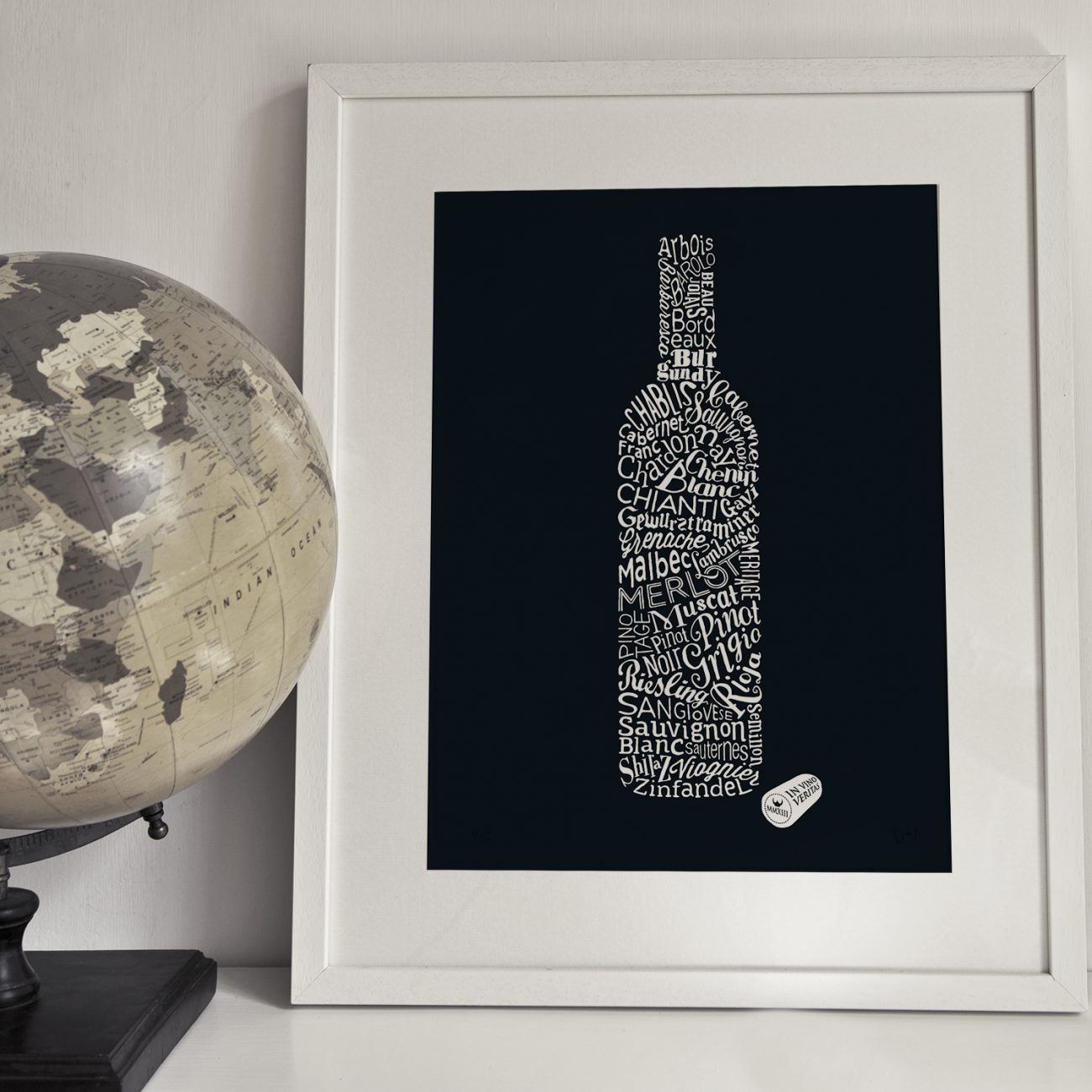 Typographic art print of bottle of wine
