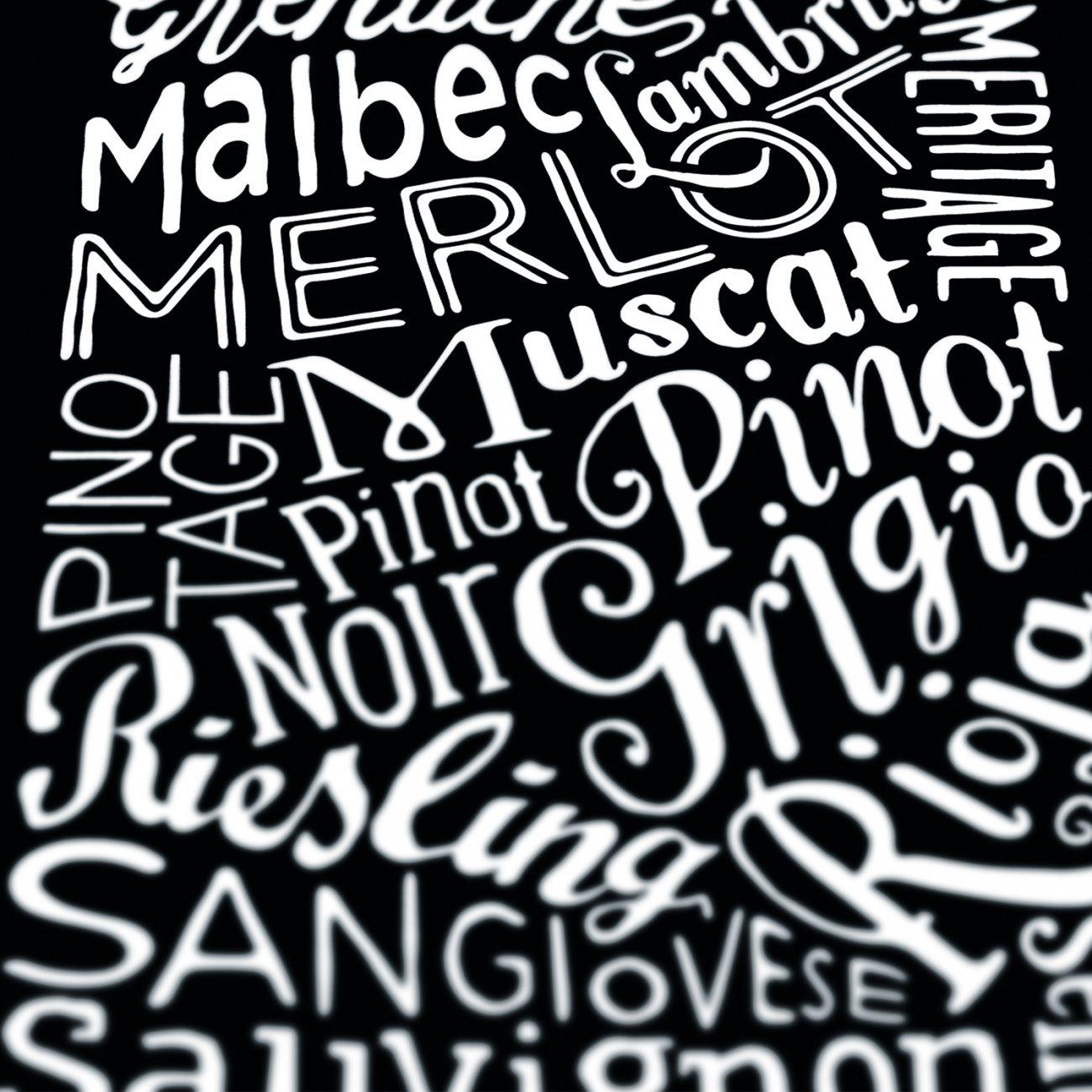 Typographic bottle of wine