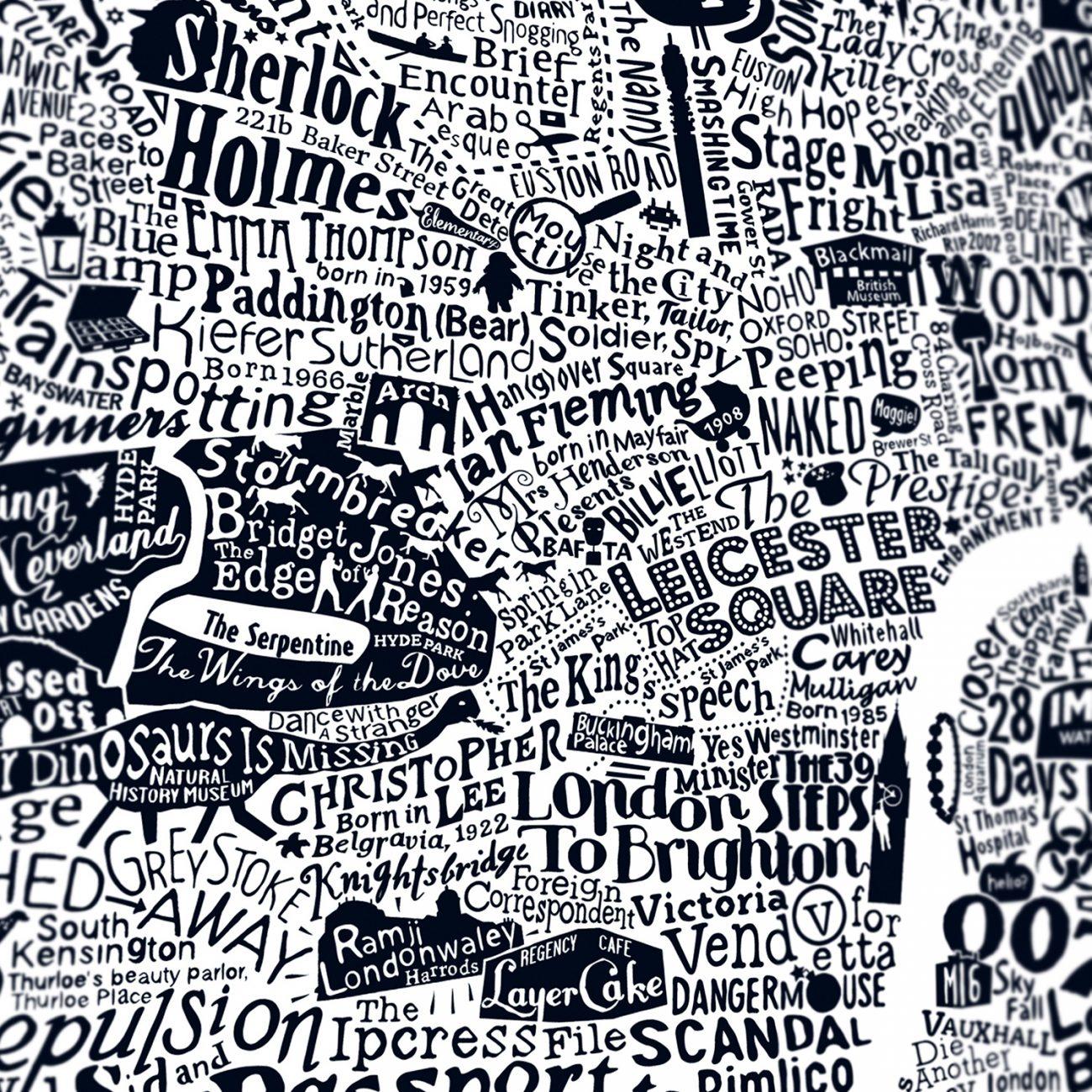 Typographic film map of london